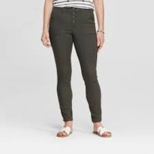 High-Rise Button Fly Utility Skinny Jeans